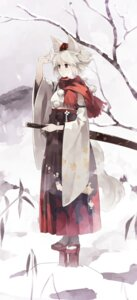 Rating: Safe Score: 28 Tags: animal_ears inubashiri_momiji shihou sword tail touhou User: Radioactive