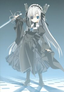 Rating: Safe Score: 32 Tags: eyepatch gothic_lolita kyougetsutei lolita_fashion miyashita_miki paper_texture sword User: crim