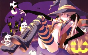 Rating: Questionable Score: 60 Tags: erect_nipples halloween nanao_naru no_bra open_shirt thighhighs witch User: fireattack