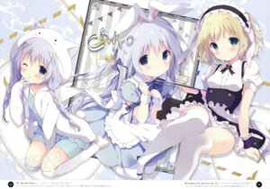 Rating: Questionable Score: 86 Tags: animal_ears bunny_ears dress fixed gochuumon_wa_usagi_desu_ka? kafuu_chino kirima_sharo shiratama shiratamaco tail thighhighs User: fireattack