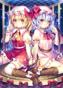 Rating: Safe Score: 40 Tags: dress flandre_scarlet heels masaru remilia_scarlet thighhighs touhou wings User: Mr_GT
