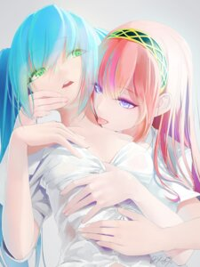 Rating: Safe Score: 94 Tags: dress_shirt hatsune_miku megurine_luka no_bra okingjo open_shirt see_through vocaloid yuri User: DarkRoseofHell