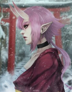 Rating: Safe Score: 8 Tags: horns japanese_clothes monori_rogue open_shirt pointy_ears sarashi torii User: Werewolverine4