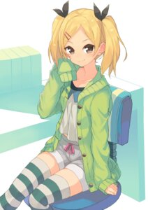 Rating: Safe Score: 50 Tags: hajime_kaname shirobako sweater thighhighs yano_erika User: Mr_GT