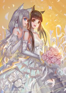 Rating: Safe Score: 66 Tags: alphonse animal_ears chocola dress nekomimi vanilla wedding_dress User: itsu-chan