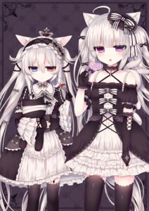 Rating: Safe Score: 51 Tags: alice_claudia animal_ears dress gothic_lolita heterochromia lolita_fashion lolo_noel nekomimi thighhighs tsukikage_nemu User: charunetra