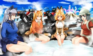 Rating: Safe Score: 19 Tags: animal_ears ezo_red_fox kaban_(kemono_friends) kemono_friends lucky_beast marimo0084570 onsen pantsu serval silver_fox skirt_lift tail wet User: Mr_GT