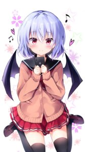 Rating: Questionable Score: 45 Tags: hyurasan remilia_scarlet seifuku sweater thighhighs touhou wings User: hiroimo2