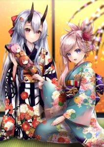 Rating: Safe Score: 32 Tags: fate/grand_order hane_yuki horns kimono miyamoto_musashi_(fate/grand_order) tomoe_gozen_(fate/grand_order) User: hiroimo2