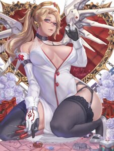 Rating: Questionable Score: 108 Tags: cleavage fishnets garter_belt gtunver megane mercy_(overwatch) no_bra nurse open_shirt overwatch pantsu signed stockings thighhighs wings User: Mr_GT