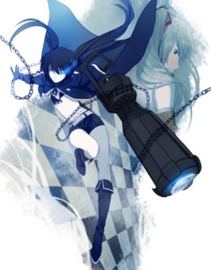 Rating: Safe Score: 16 Tags: bikini_top black_rock_shooter black_rock_shooter_(character) crossover hatsune_miku headphones icece vocaloid weapon User: charunetra