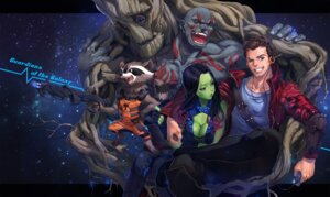 Rating: Safe Score: 14 Tags: animal_ears cleavage drax_the_destroyer gamora groot guardians_of_the_galaxy gun headphones mhk peter_quill rocket_racoon tail User: Mr_GT