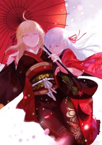 Rating: Safe Score: 50 Tags: fate/stay_night joseph_lee kimono matou_sakura saber saber_alter umbrella User: Mr_GT