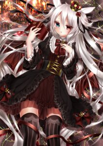 Rating: Safe Score: 56 Tags: alice_claudia animal_ears dress heterochromia shanghai_bisu thighhighs wings User: charunetra