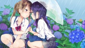 Rating: Questionable Score: 48 Tags: bra cleavage see_through tagme umbrella wet_clothes yuri User: Maxpayness