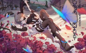 Rating: Safe Score: 69 Tags: asa_ni_haru benghuai_xueyuan cleavage garter horns pantyhose torn_clothes weapon User: Mr_GT