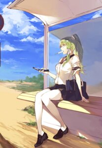 Rating: Safe Score: 56 Tags: duoyuanjun kochiya_sanae seifuku thighhighs touhou User: Mr_GT