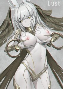 Rating: Questionable Score: 57 Tags: animal_ears armor bikini_armor breast_hold breasts fentou_shou final_fantasy final_fantasy_xiv nipples no_bra wings User: Dreista