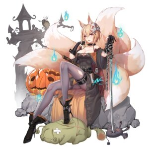 Rating: Questionable Score: 29 Tags: 5555_96 animal_ears ark_order cleavage dress garter halloween heels kitsune pantyhose skirt_lift sword tamamo_no_mae_(ark_order) torn_clothes User: Dreista
