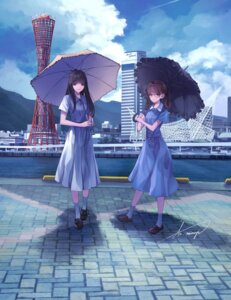 Rating: Safe Score: 15 Tags: dress koh_(minagi_kou) megane umbrella User: BattlequeenYume