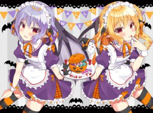 Rating: Safe Score: 18 Tags: beni_kurage flandre_scarlet halloween maid myon neko pointy_ears remilia_scarlet skirt_lift thighhighs touhou wings User: Mr_GT