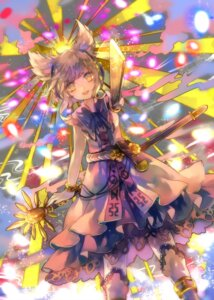 Rating: Safe Score: 22 Tags: cha_goma dress headphones thighhighs touhou toyosatomimi_no_miko weapon User: charunetra