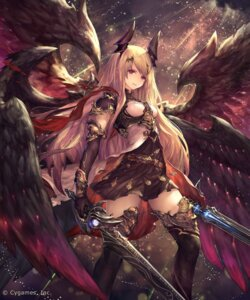Rating: Safe Score: 124 Tags: armor dress horns jpeg_artifacts shingeki_no_bahamut sword tachikawa_mushimaro thighhighs wings User: Mr_GT