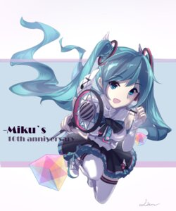 Rating: Safe Score: 23 Tags: hatsune_miku signed tagme thighhighs vocaloid User: saemonnokami