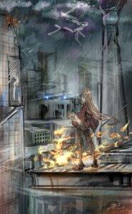 animal ears arknights black poi dress garter landscape nekomimi pantyhose sketch skyfire (arknights) weapon #89823