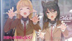 Rating: Safe Score: 34 Tags: animal_ears cosplay crossover endcard isekai_maou_to_shoukan_shoujo_no_dorei_majutsu mizoguchi_keiji nekomimi pointy_ears rem_galleu seifuku shera_l._greenwood sweater User: kiyoe