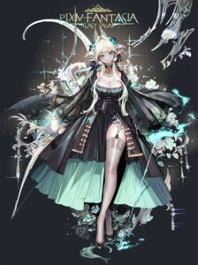 Rating: Safe Score: 44 Tags: cleavage dress horns kabi_(kb) pixiv_fantasia pixiv_fantasia_last_saga pointy_ears stockings thighhighs weapon User: Mr_GT