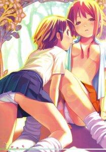 Rating: Questionable Score: 101 Tags: koutaro nijiiro_zakura nipple_slip no_bra open_shirt pantsu yuri User: strawberryheaven