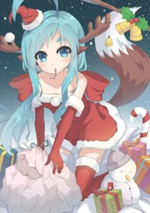 Rating: Safe Score: 30 Tags: animal_ears christmas dress horns l4no-shiro shiro_sakamachi tail thighhighs User: L4No