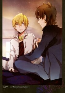 Rating: Safe Score: 10 Tags: fate/stay_night fate/zero fly gilgamesh_(fsn) kotomine_kirei male type-moon User: drop