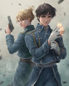 Rating: Safe Score: 11 Tags: fullmetal_alchemist gun kotikomori riza_hawkeye roy_mustang uniform User: charunetra