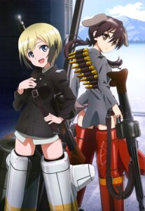 Rating: Safe Score: 40 Tags: animal_ears erica_hartmann gertrud_barkhorn gun pantsu strike_witches tail uniform User: drop