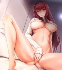 Rating: Questionable Score: 78 Tags: bottomless censored fate/grand_order feet lun7732 no_bra open_shirt scathach_(fate/grand_order) sweater underboob User: mash