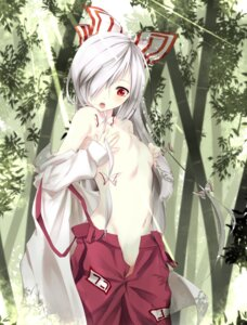 Rating: Questionable Score: 74 Tags: breast_hold fujiwara_no_mokou gorilla_(bun0615) loli no_bra nopan open_shirt touhou undressing User: ddns001