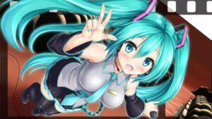 Rating: Safe Score: 47 Tags: hatsune_miku headphones kyamu thighhighs vocaloid User: Mr_GT
