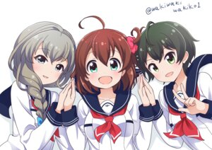 Rating: Safe Score: 18 Tags: battle_girl_high_school hoshitsuki_miki narumi_haruka seifuku wakaba_subaru waki_(pixiv2609622) User: saemonnokami