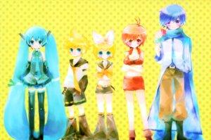Rating: Safe Score: 11 Tags: hatsune_miku kagamine_len kagamine_rin kaito meiko shimeko vocaloid User: Radioactive