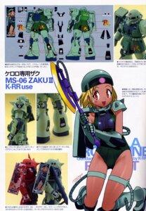 Rating: Safe Score: 12 Tags: angol_mois bodysuit gun gundam hinata_natsumi_(keroro_gunsou) keroro_gunsou mecha mecha_musume ms-06_zaku_ii sword yoshizaki_mine User: Radioactive