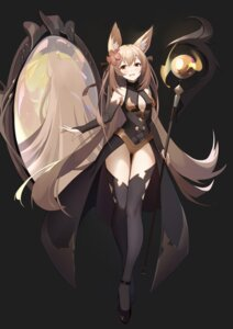 Rating: Questionable Score: 39 Tags: animal_ears cleavage heels leotard no_bra thighhighs weapon wfd User: