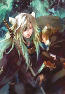Rating: Safe Score: 8 Tags: animal_ears eyepatch kazuaki konoe_(lamento) lamento male nitroplus_chiral rai_(lamento) sword User: Radioactive