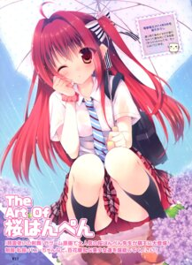 Rating: Questionable Score: 81 Tags: nopan sakura_hanpen see_through seifuku umbrella wet_clothes User: Twinsenzw