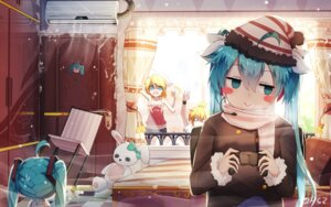 Rating: Safe Score: 49 Tags: hatsune_miku headphones kagamine_len kagamine_rin sen_ya signed vocaloid User: RyuZU