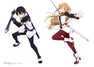 Rating: Safe Score: 28 Tags: asuna_(sword_art_online) heels kirito pantyhose sword sword_art_online sword_art_online_ordinal_scale torii_takashi uniform User: drop