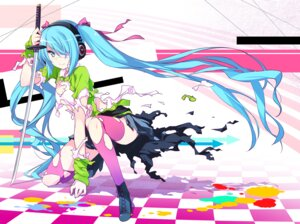 Rating: Safe Score: 56 Tags: 47agdragon cleavage eyepatch hatsune_miku headphones sword thighhighs torn_clothes vocaloid User: fairyren