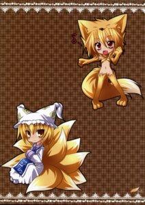 Rating: Questionable Score: 10 Tags: chibi kazami_karasu kitsune kitsuneiro moonlight_flower nopan ragnarok_online thighhighs touhou yakumo_ran User: petopeto