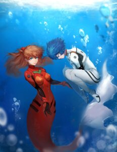 Rating: Questionable Score: 32 Tags: ayanami_rei bodysuit mermaid monster_girl neon_genesis_evangelion sola7764 souryuu_asuka_langley tail User: sylver650